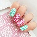 9 Dicas/Folha Prego Vinis Oco da Forma Do Coração Nail Art Stencils Holo Manicure Nail Stickers Template Stamping Nail Art ferramentas L101