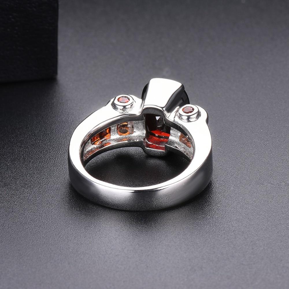 Hutang grenat anneaux de mariage bague en pierre naturelle solide 925 en argent Sterling lunette réglage bijoux de pierres précieuses fines pour les femmes filles nouveau - 4