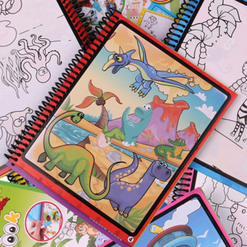 Hot Toys Kids Educational Water Magic Drawing Book Painting Board Coloring with Doodle Pen