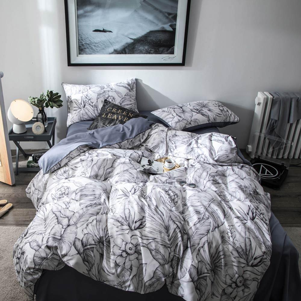 2019 European Nordic Grey Leaves Flowers Bedlinens Egyptian Cotton Bedding Set Queen King Size Flat sheet Duvet Cover Set