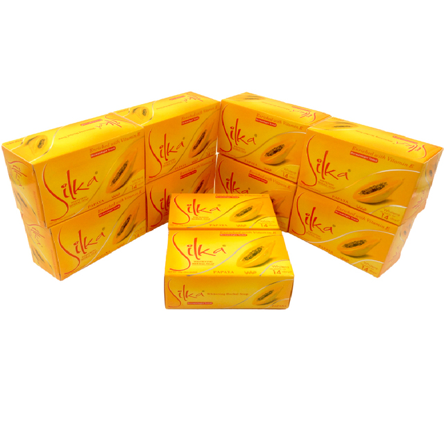 10pcs/lot Silka Skin Whitening Papaya Soap Lightening Herbal Body Skin Bleaching Soap Face Cleanser 135g 1
