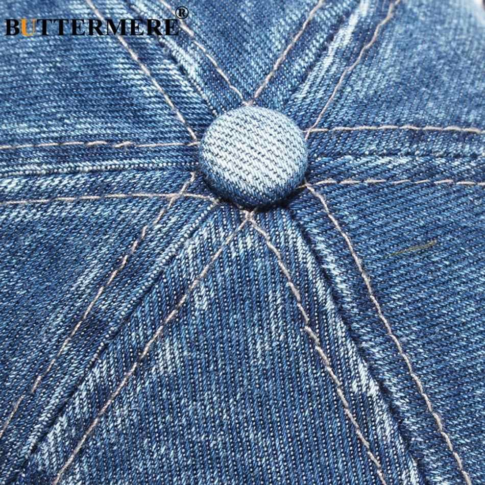 BUTTERMERE Berretto Da Baseball Del Denim Per Gli Uomini Blu Casual Papà Cappelli Delle Donne Regolabile Jeans Vintage di Autunno Solido Uv Del Sole Tappi di Sesso Maschile 2020