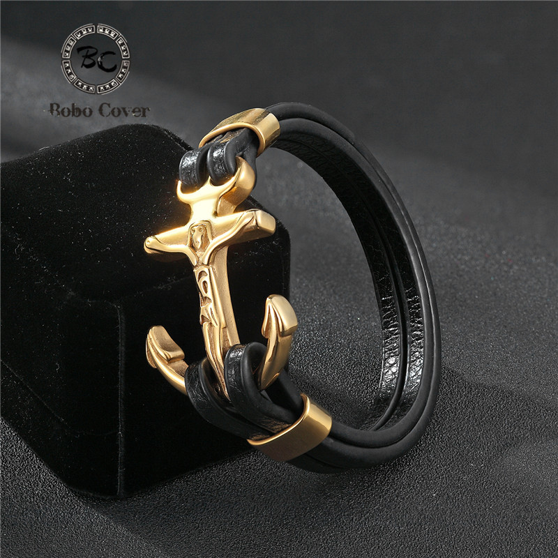 Bobo Cover New Cross vintage punk Stainless steel Animal Bracelets Men Charm Anchor bracelets & bangle for Mens Jewelry homme buy mens string bracelets