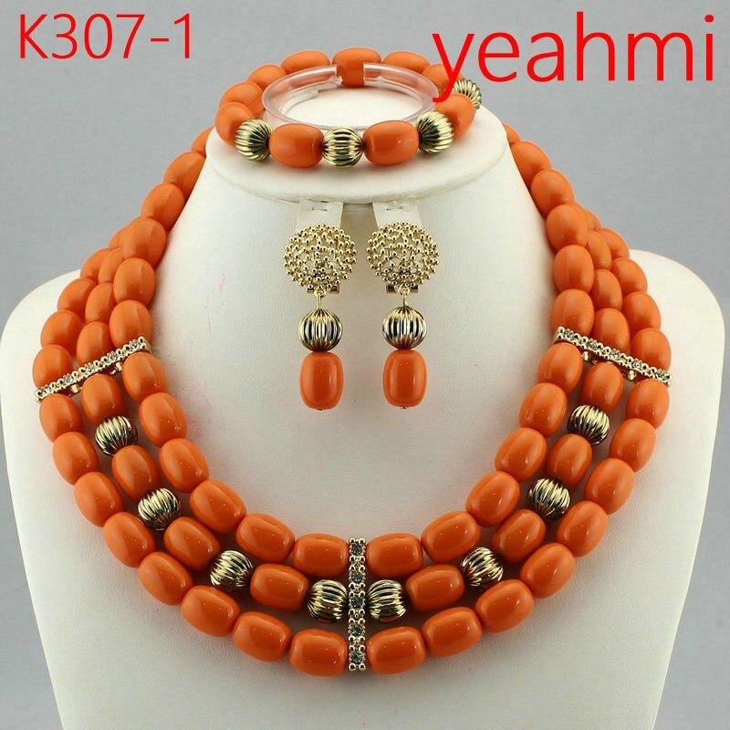 Fantastique vin rouge corail africain perles de mariage pendentif collier ensemble bourgogne or Dubai femmes Costume bijoux ensemble K307-2