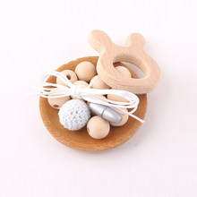 Let's make 1set Natural Wooden Rabbit DIY Set Crochet Beads Hands-on Baby Teether Birthday Gift Whale Food Grade DIY Necklace(China)