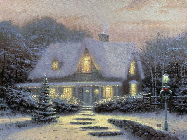 not framed free shipping wall pictures for living room canvas wall art thomas kinkade christmas eve