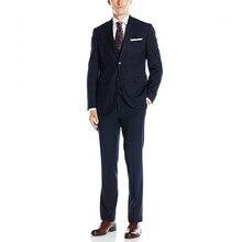 Latest men three-piece suit hot sale groom officially to pure color design business men's suit jacket + pants + vest