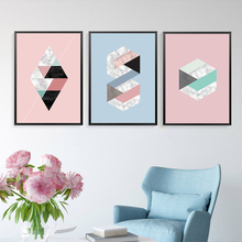 Simple Abstract Pink Geometric Mosaic Stitching Canvas Art Painting Print Poster Picture Wall Modern Home Decoration A2 A3 A4