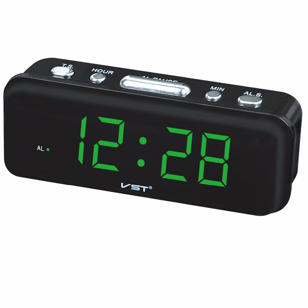 Large nubers display led alarm clock with EU plug AC power home electronic Wake up to buzzer clock Child gifts small alarm clock image