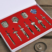 11pcs/sets Legend Of Zelda Characters Weapons Shield Metal Pendant Necklace Keychain Collection In Box GOF555