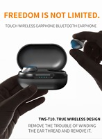 Bluetooth 5.0 TWS T10 In ear Earphone Touches Single Ear Wireless Business Vehicle Headset With Charging Box Compartment Earbuds
