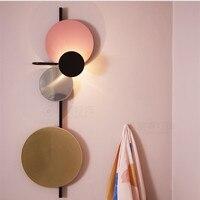 북유럽 로프트 디자이너 다채로운 금속 원형 원형 led 벽 램프 아트 diy 행성 led 벽 scones 저녁 식사 침대 옆 실내 조명