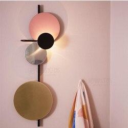 Nordic Loft projektant kolorowe metalowe okrągłe koło doprowadziły kinkiet sztuki DIY Planet Led kinkiety obiad lampki nocne oświetlenie wewnętrzne