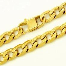 Мужской чокер золотистого цвета ожерелье из нержавеющей стали