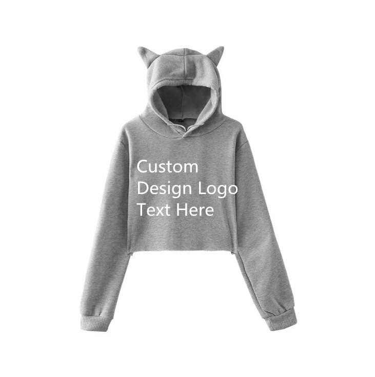 Coyoung Brand Women Diy Custom Cat Ear Hoodies Long Sleeve Cropped Hooded Pullover Girls Clothes Tops Sweatshirts Free Shipping