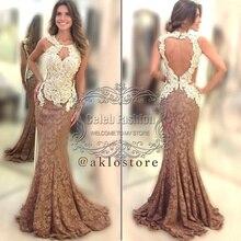 Vestido longo O Neck Tank Lace Appliques Bodice Key Hole Front Back Long Mermaid Lace Evening Dress Elegant Formal Dress