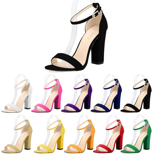LOSLANDIFEN Newest Women Open Toe Sexy Ankle Straps Sandals High Heels Summer Ladies Bridal Suede Thick Heel Pumps 368-1VE