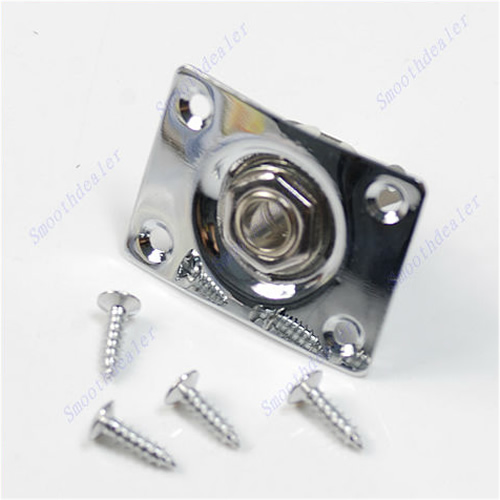 Hot Sell Chrome Rectangle Output Guitar Jack Plate Socket Free Shipping chrome oval indented 1 4 guitar pickup output input jack socket contains 2 mounting screws for bass guitar