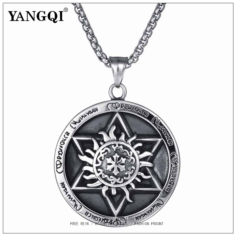 US $4 05 45% OFF|Castiel Supernatural Pentacle Pentagram Pendant Necklace  Stainless Steel Chain Vintage Witch Protection Star Amulet Necklace Men-in