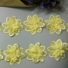 2yard Yellow Rose Flower Pearl Chiffon Embroidered Lace Trim Ribbon Fabric Sewing Craft Patchwork Handmade DIY for Costume Decor