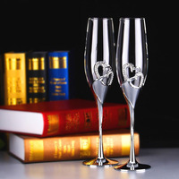 2 PCS Set Crystal Wedding Toasting Champagne Flutes Glasses Cup Wedding Party Marriage Decoration Cup For