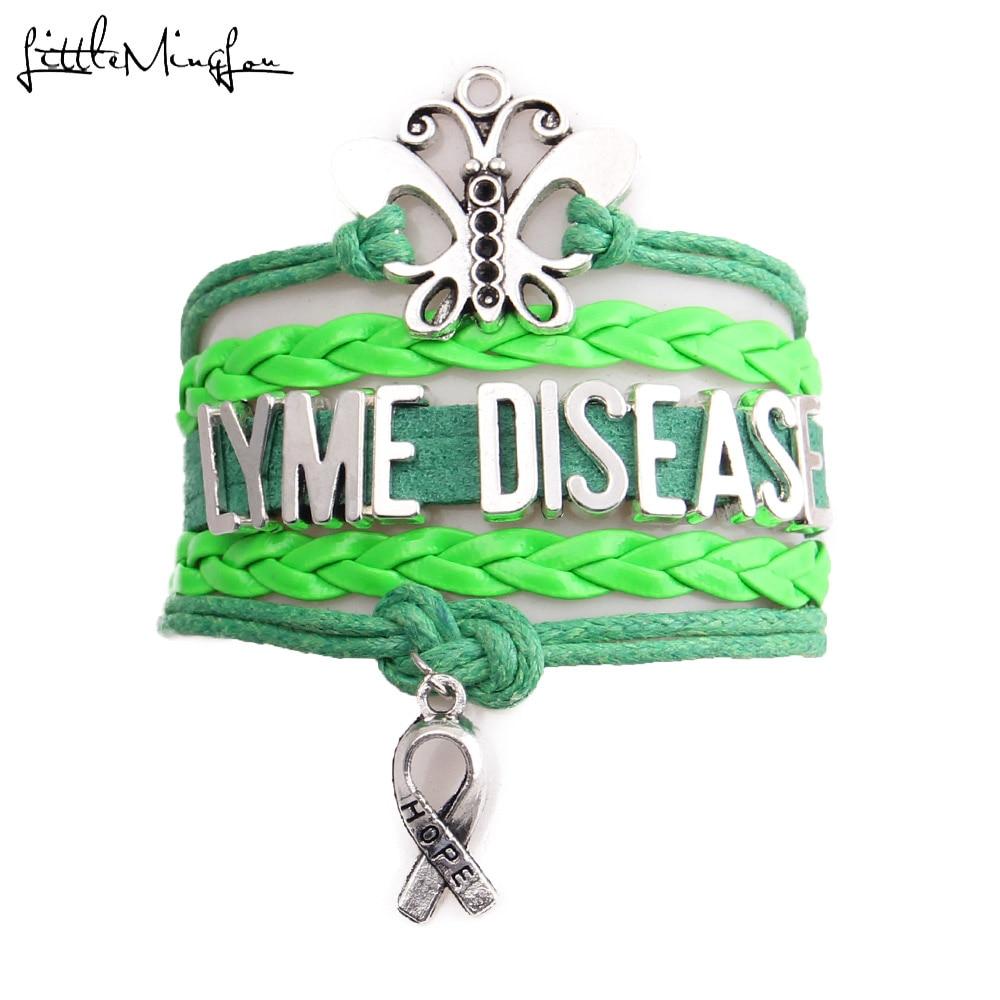 Little Minglou Lyme Disease Bracelet Erfly Hope Charm Awareness Leather Wrap Men Bracelets Bangles For Women Jewelry