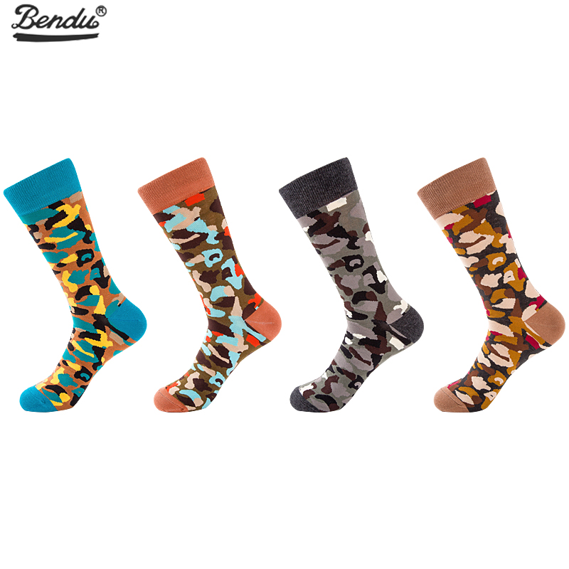 BENDU 4 Pairs/Lot Mens Camouflage Socks Fashion Funny Long Sock Combed Cotton Happy Colorful Socks Casual Business Dropshipping