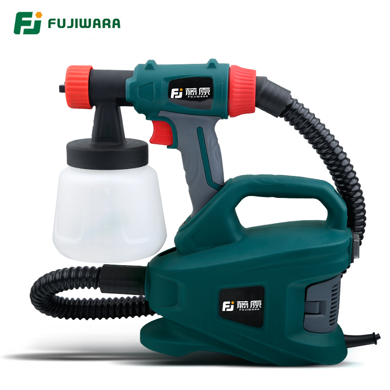 FUJIWARA 220V 800W Electric Spray Gun Split Type HVLP Paint Sprayer For Painting With Adjustable Flow Control 1.8m Hose