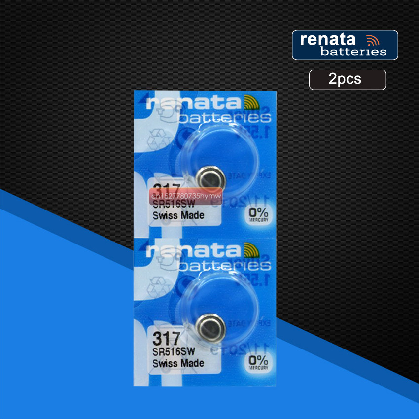 2pc Renata 317 100% Original Brand New LONG LASTING SR516SW SR62 D317 V317 Watch Battery Button Coin Cell Swiss Made