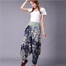 Woman Joggers Linen Cotton Chinese Harem Pants Women Big Crotch Nepal Baggy Embroidery flowers Female pantalon