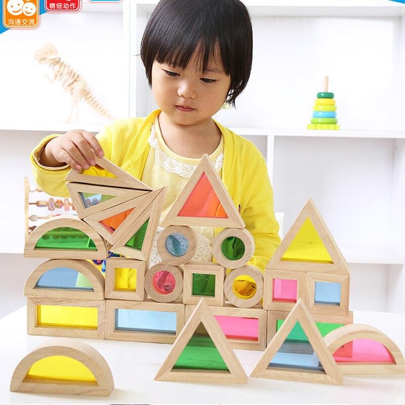 Enfants Montessori En Bois Arc-En-Construction Blocs 24 pcs Jouets Enfants 6 Forme 4 Translucide Couleurs Brinquedo Oyuncak Brinquedos