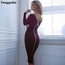 New Arrival 2018 Spring Women Black Bodycon Sheath Long Sleeve Party Dresses Long Zipper Robe Sexy Backless Pencil Dress недорого