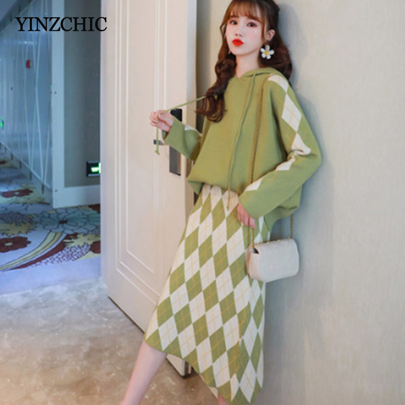 New Woman Winter Knitted Suits Hoody Sweater A-line Skirt Set For Woman Female Casual Two-pieces Sets