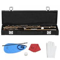 Tone C Gold 16 Holes CKey Flute Silver Keys Cupronickel Body with Storage Bag Cleaning Cloth Stick Gloves Etc