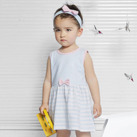 New Fashion 0 4 Ages Princess Style Girls Party Dresses Striped Designs Blue Baby Sleeveless Dresses