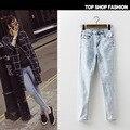 Mulher de forma Magro Plus Size calças de Brim 2017 Nova Primavera Verão Calça Jeans de Cintura alta Para As Mulheres Neve Denim Stretch Calças Lápis feminino
