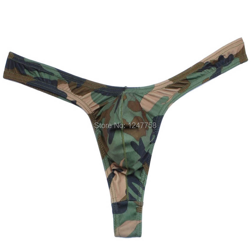 New Mens Camouflage Thong Underwear Bulge Pouch Bikini Mini G-String
