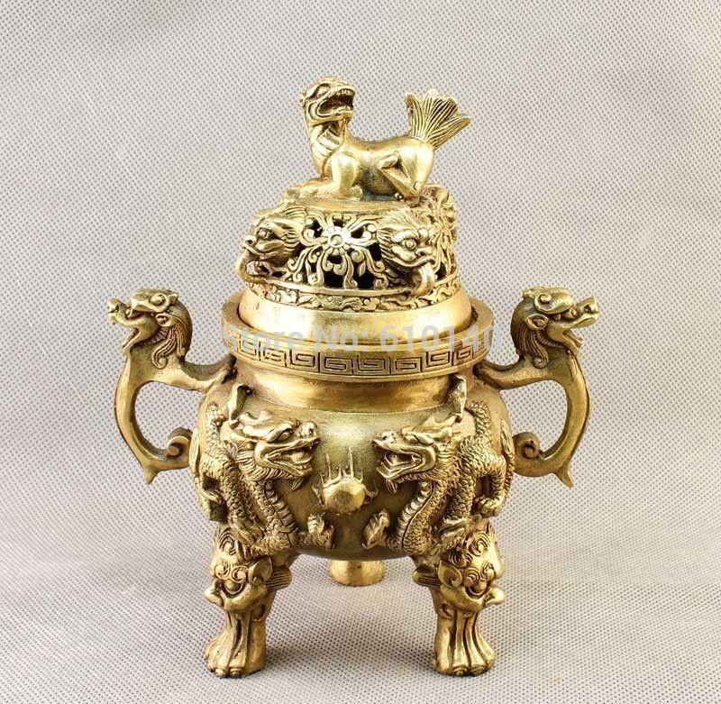 China Brass carved Dragon Dog Incense Burner Censer StatueChina Brass carved Dragon Dog Incense Burner Censer Statue