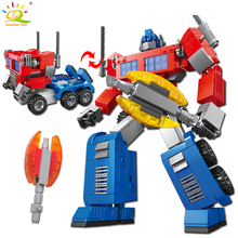 Blue Transformation Robot Car building Blocks Compatible legoed technic city police Brick Deformation Enlighten Toy For
