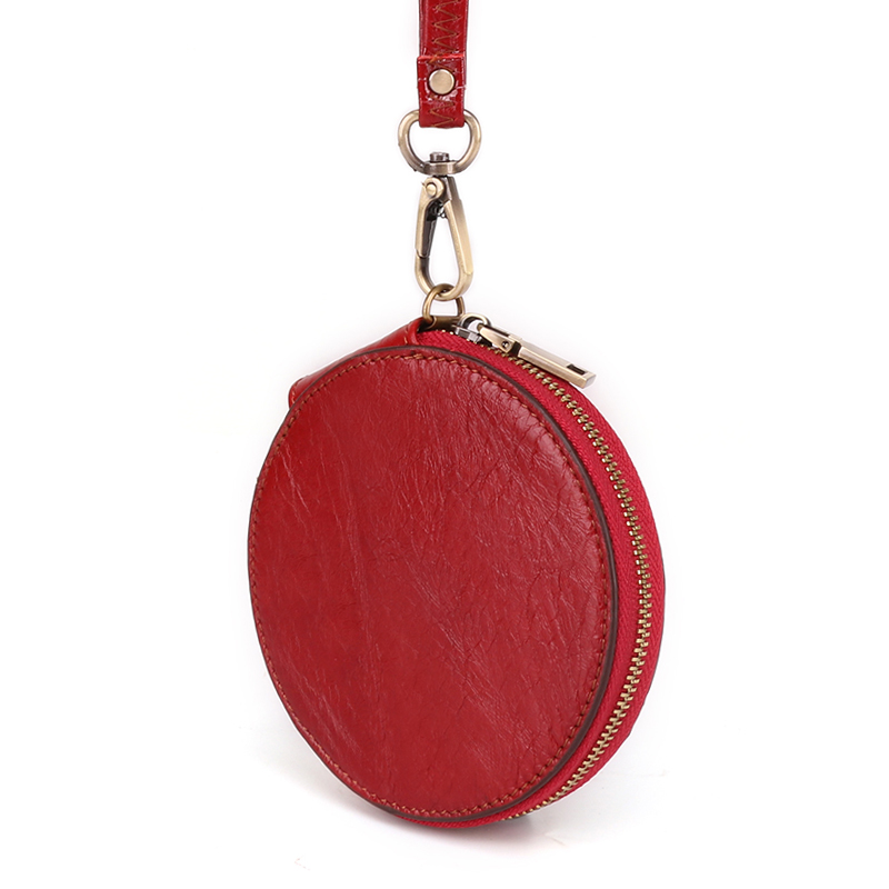 Lady Wristlet Handbags Fashion Women's Coin Purse Genuine Leather Zipper Coin Wallet Circular Key Holder Small Money Bag