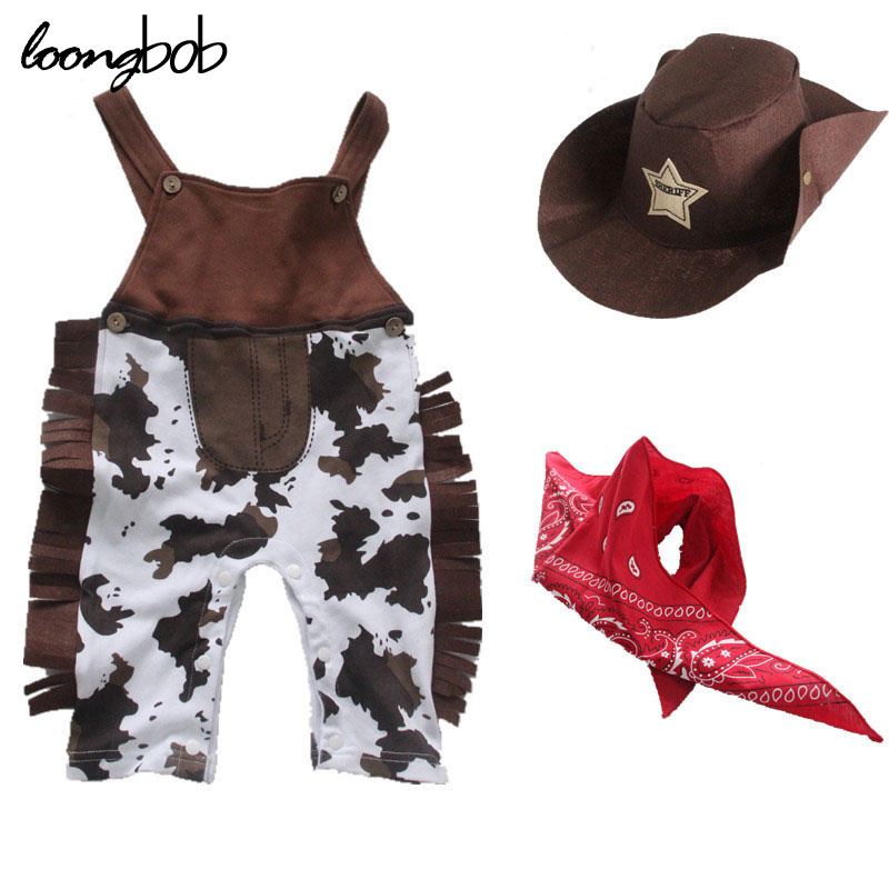 Cowboy Baby Costume 3pcs Infant Toddler Boy Clothing Set Hat Scarf Romper Halloween Easter Purim Event Photo Props Outfits