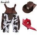 Cowboy Traje 3 pcs Infantil Da Criança Do Bebê Roupas Menino Cachecol Chapéu Conjunto Romper o Dia Das Bruxas Páscoa Purim Evento Photo Props Outfits