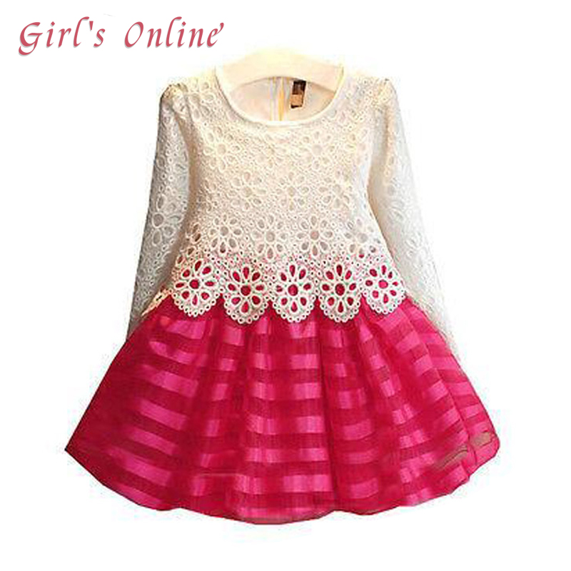 3 4 5 6 7 8 Years Girl Dress 2018 New Kids Lace Dress Long Sleeve Children Princess Dress Spring Autumn Toddlers Clothes 2018 europe the united states new spring autumn girls plaid dress long sleeved simple lace dress 2 7 years old baby girl clothes