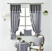 Европейский серый клетчатый, хлопчатобумажный кружевные занавески для гостиной спальни окно Короткая занавеска для кухни панель-жалюзи до...