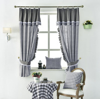 European Gray Plaid Cotton Linen Lace Curtains For Living Room Bedroom Window Short Curtain for Kitchen Blinds Panel Home Decor