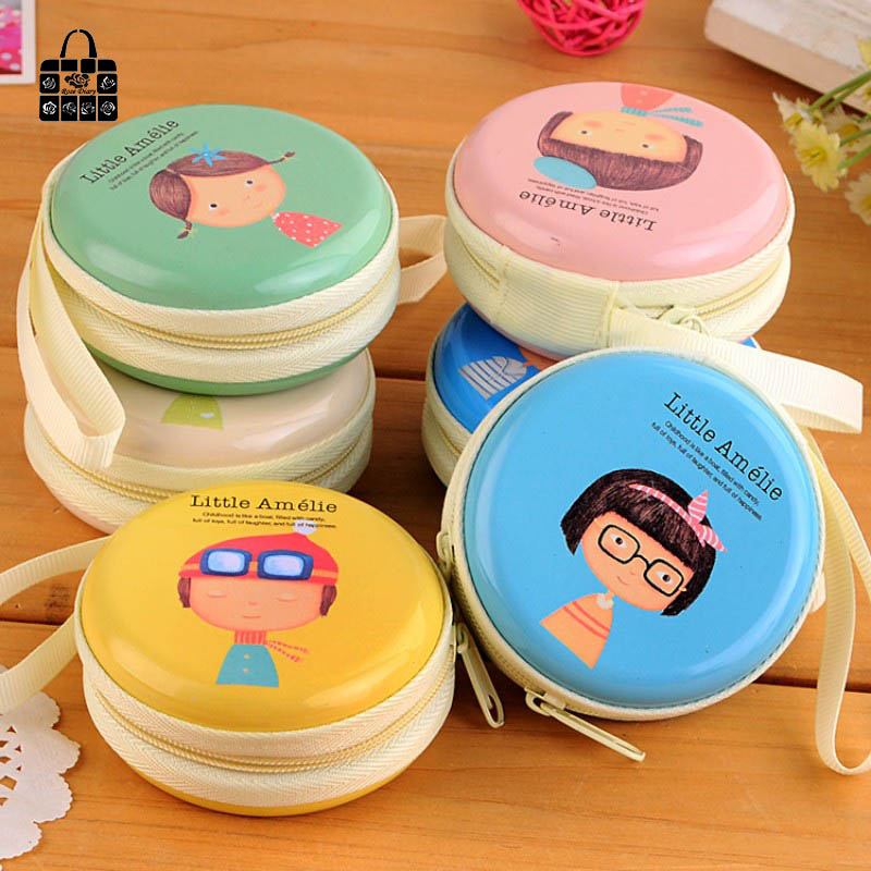 Rose Diary Cartoon boy girl tin waterproof headphones/key/zero wallet coin purses child girl women lady change purse,coin bag