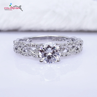 COLORFISH Luxury 1 Carat Infinity Engagement Rings Women Pure 925 Sterling Silver Round Cut Sparkling Twist