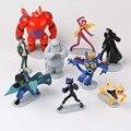 Novos Brinquedos 9 pçs/set Big Herói 6 Baymax Hiro Hamada Callaghan Fred Figura de Ação do robô Dos Desenhos Animados Filme Figuras de Ação & Toy Presentes Crianças
