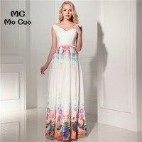Unique 2017 Cheap Evening Prom Dresses Long With Print Pattern V Neck Vestidos De Fiesta Formal