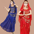 4 unids Triba Gitana Traje de la Danza Del Vientre Bellydance Indio Vestido de la Danza Del Vientre Ropa de Danza Del Vientre Trajes de Danza Bollywood